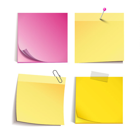 Yellow and rose stick note isolated on white Illustration