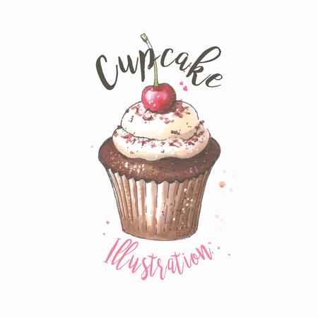 Vector hand drawn  of cupcake with cherry. 일러스트