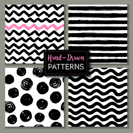 Set of hand drawn ink seamless patterns.
