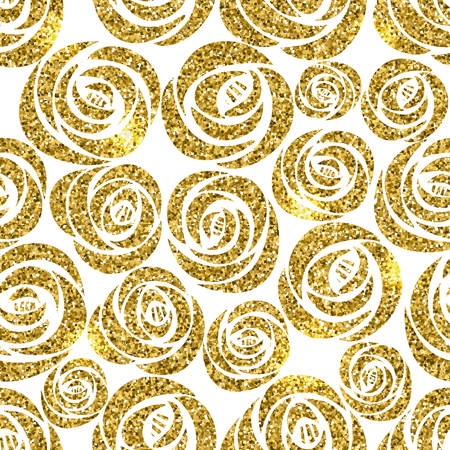 Vector shining golden glitter roses flower floral seamless pattern