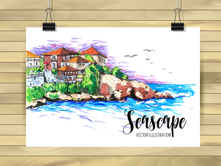 Hand drawn seascape Sketch for your design