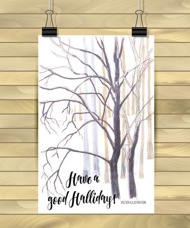Hand drawn tree isolated on white background. Sketch, vector illustration