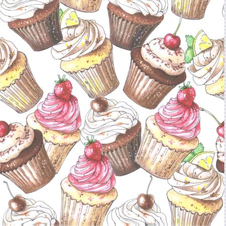 Seamless cupcake pattern. Illustration