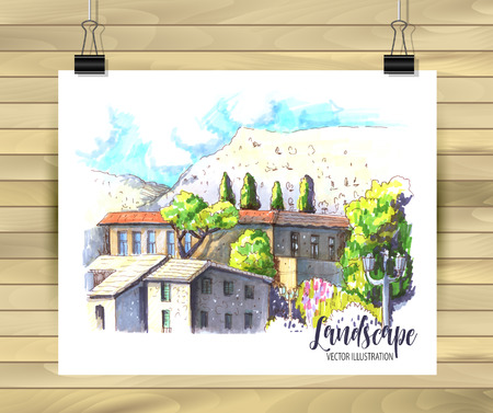 Hand drawn old City Sketch for your design,Drawn in color ink or markers on white background