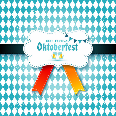Creative  set of labels, badges and design elements on the Oktoberfest beer festival on seamless pattern