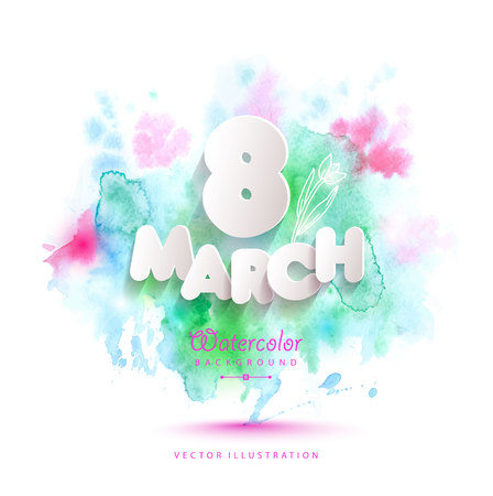 8 March vector card on color watercolor Illustration