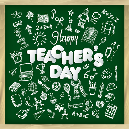 Happy teachers day in chalkboard style and lettering phrase. Illustration