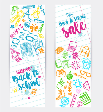 Back to school promo banner design. Vector background. Use for sale flyer, event invitation.