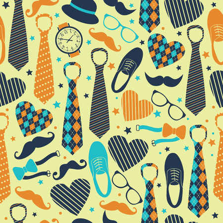 Seamless pattern of Fathers day. Flat set icons on background. Ilustracja