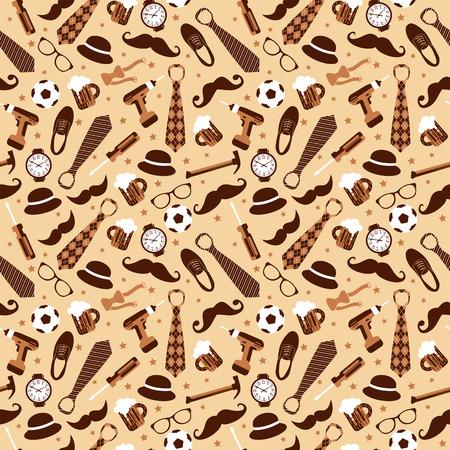 Seamless pattern of Fathers day. Flat set icons on background. Ilustração Vetorial