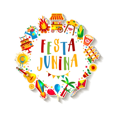 Festa Junina village festival in Latin America. Icons set in bri Иллюстрация