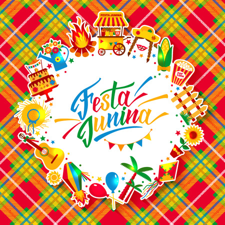 Festa Junina village festival in Latin America. Icons set in bri 일러스트