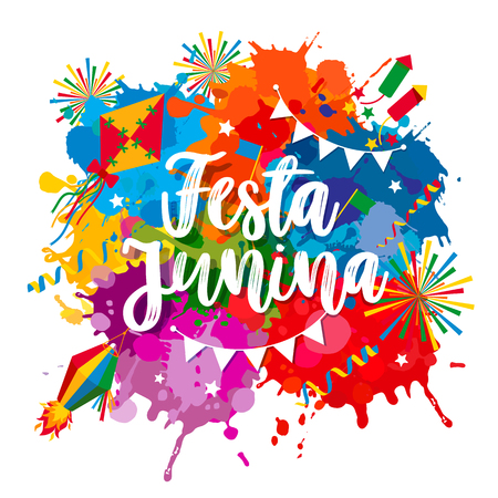 Festa Junina village festival in Latin America. Lettering illustration on bright blots.