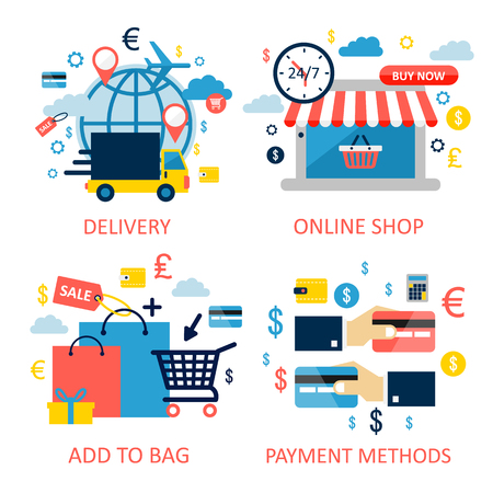 Online shopping and e-commerce illustration. Flat design graphic elements, signs, symbols, bright icons set.