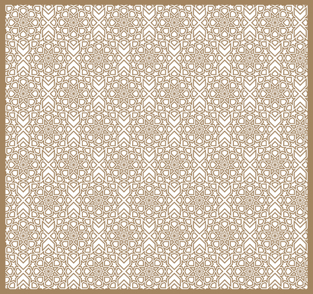 Seamless Islamic patterns in beige. Traditional muslim ornament. Illustration