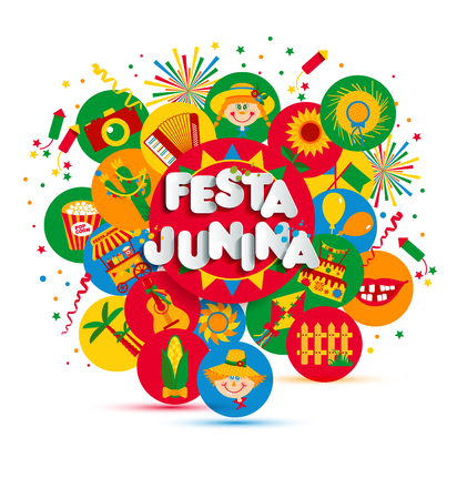 Festa Junina village festival in Latin America. Icons set illustration. Illustration