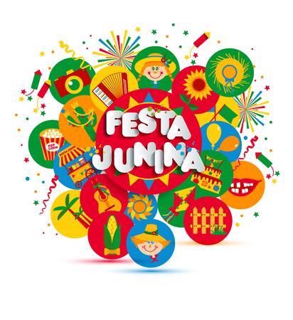 Festa Junina wiejski festiwal w Ameryce Łacińskiej. Ikony zestaw ilustracji.