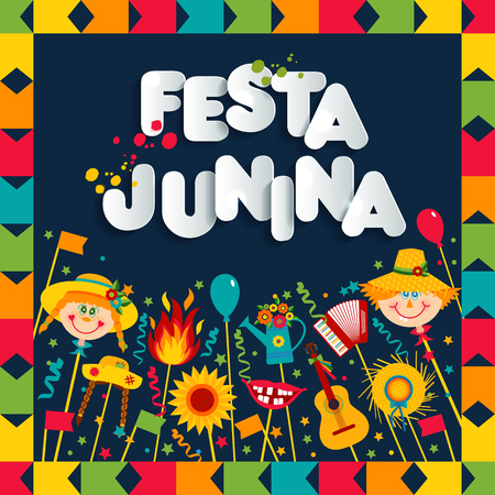 Festa Junina village festival in Latin America. Icons set illustration. Иллюстрация