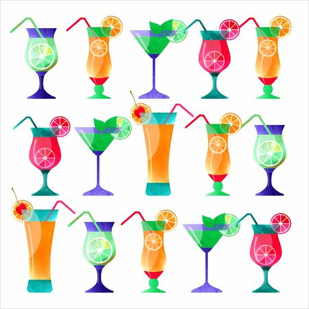 Cocktail hand drawn, decorative icons set