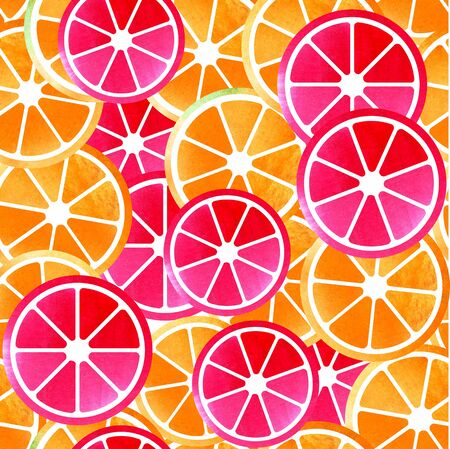 Citrus seamless surface watercolor hand drawn pattern color design