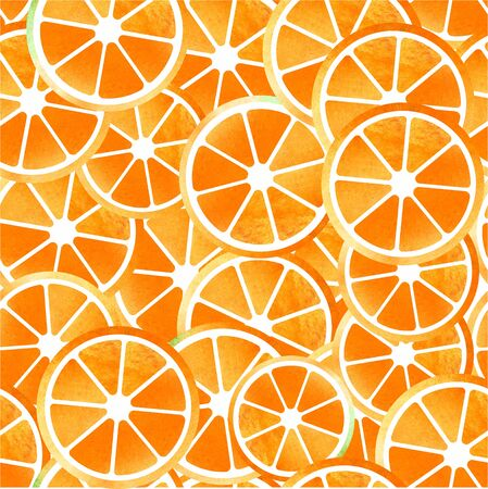 Orange  seamless patterns of sliced fruit painted watercolors
