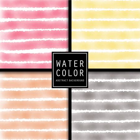 Vector pattern design set with watercolor light stripes.