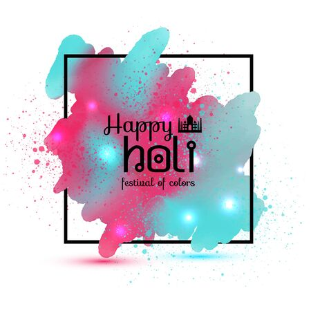 Holi spring festival with watercolor colorful blots or splash of paint with place for your text