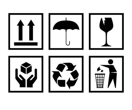Manipulation de l'ensemble d'icônes d'emballage, y compris les panneaux fragiles, de recyclage et de mise en garde, etc.