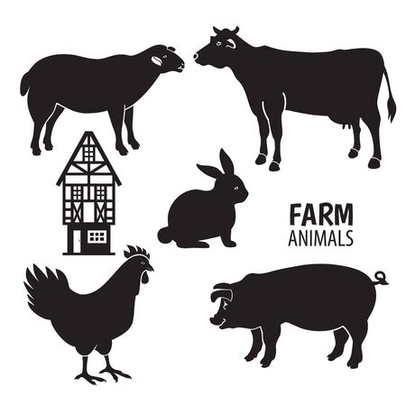 Isolated animals farm on the white