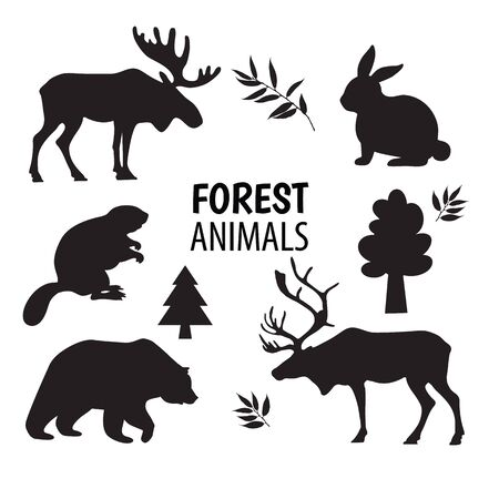 Wild forest animals silhouettes, elements set white isolated.