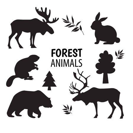 Wilde bos dieren silhouetten, elementen instellen wit geïsoleerd. Vector Illustratie