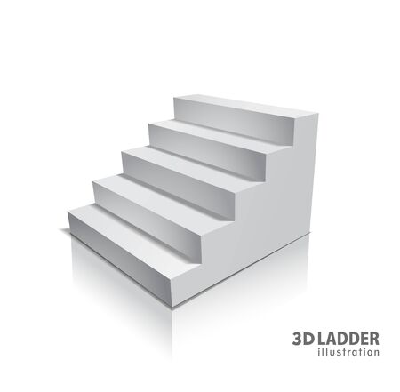 Design elements White stairs realistic illustration design with shadow on transparent
