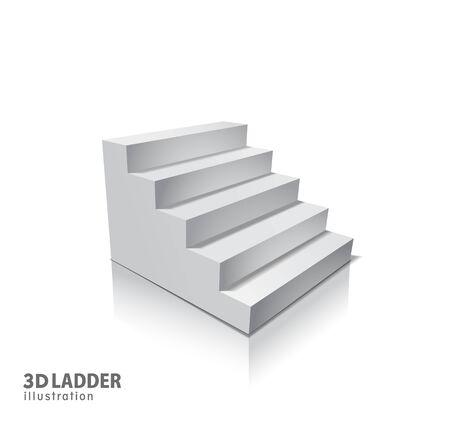 Éléments de conception Conception d'illustration réaliste d'escaliers blancs avec une ombre sur transparent Vecteurs