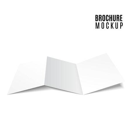 Blank trifold paper brochure mockup. Vector Illustration