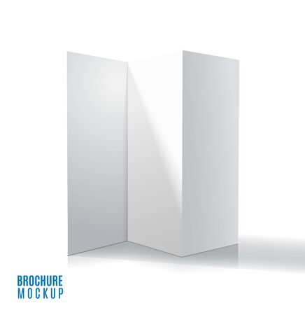 Blank trifold paper brochure mockup. Vector Illustration Фото со стока - 132439562