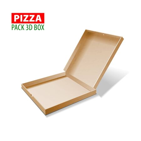 Cardboard 3d box for pizza isolated on white
