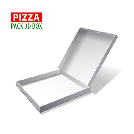Cardboard white 3d box for pizza isolated on white