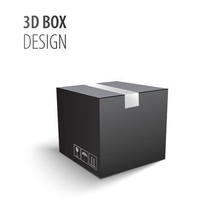 Caja 3d de embalaje de entrega de cartón cerrado negro con signos frágiles aislados en blanco