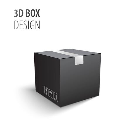 Schwarzer geschlossener Karton Lieferverpackung 3D-Box mit zerbrechlichen Schildern isoliert auf weiß