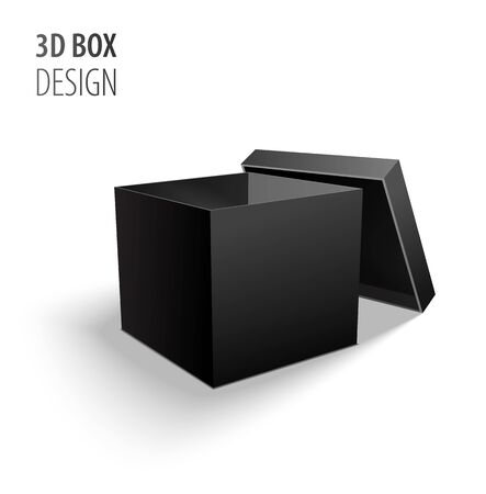 Black open carton delivery packaging 3d black box with lid isolated on white