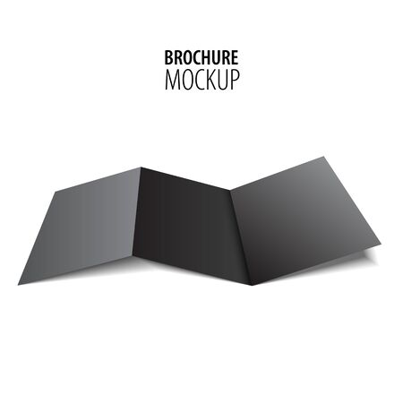 Blank trifold paper black brochure mockup isolated on white.