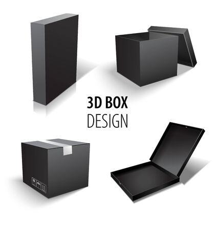 Carton packaging 3d black box set.