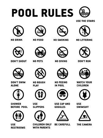 Regole della piscina. Set di icone e simboli per piscina.