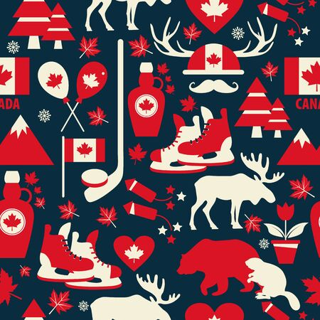Canada sign and symbol, graphic elements flat icons set in seamless pattern.