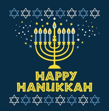 Jewish holiday Hanukkah greeting card traditional Chanukah symbols Imagens - 129247770