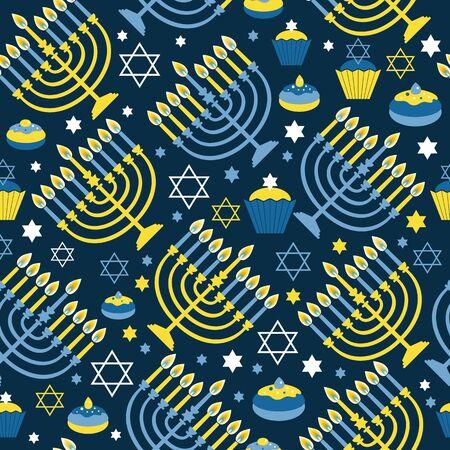 Happy Hanukkah print  with Menorah, David Star and Illustration