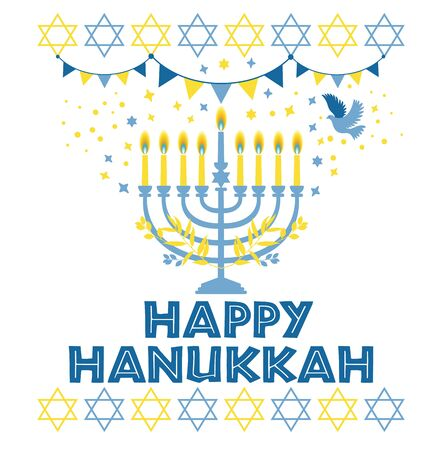 Jewish holiday Hanukkah greeting card traditional Chanukah symbols Stok Fotoğraf - 129247771