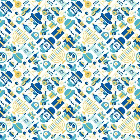 Jewish holiday Hanukkah seamless pattern with Chanukah symbols