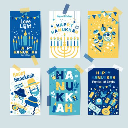 Set of colors six Hanukkah greeting cards with candles, dreidel, Jewish star, oil, menorah, donut, cupcake, confetti, letters. Layout for Festival of Lights invitation, Jewish greeting cards. Vectores