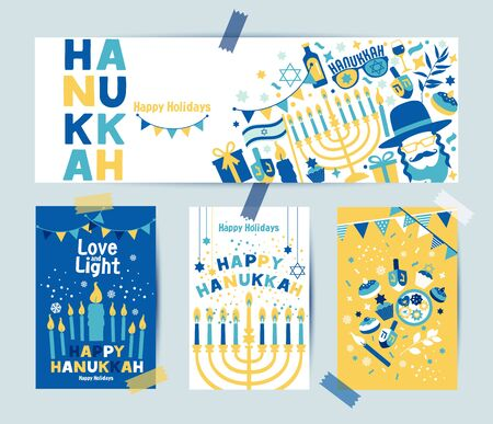 Set of colors four Hanukkah greeting cards and banner with candles, dreidel, Jewish star, oil, menorah, donut, cupcake, confetti, letters. Layout for Festival of Lights.